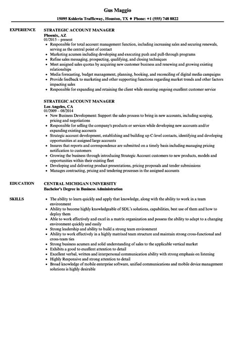 strategic account manager resume sles velvet