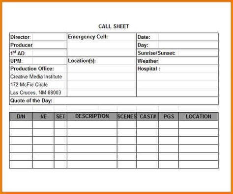 template call sheet 28 images call sheet template 9