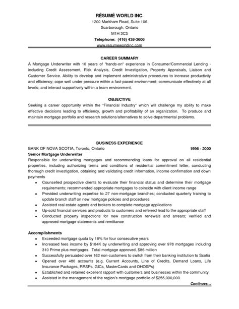 commercial insurance underwriter resume exles underwriter description for resume resume ideas