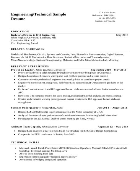 Engineering Resume Templates by 7 Engineering Resume Template Free Word Pdf Document