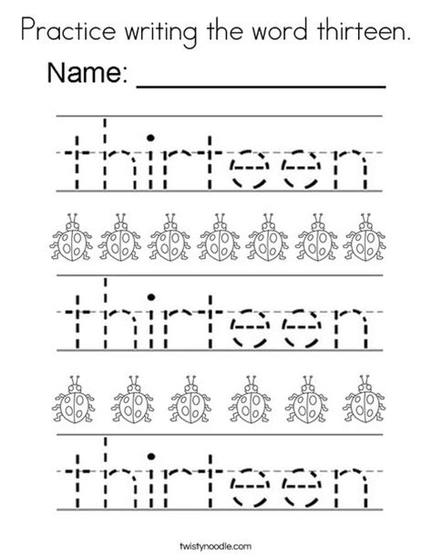 coloring pages for the number 13 practice writing the word thirteen coloring page twisty