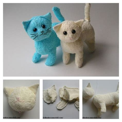 diy sock animals easy diy terry cloth cats with free pattern free pattern