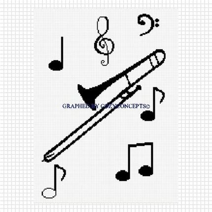 pattern of notes cozyconcepts trombone with musical notes music blanket