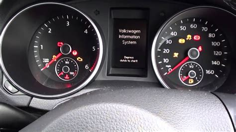 vw golf mk engine start warning lights guide