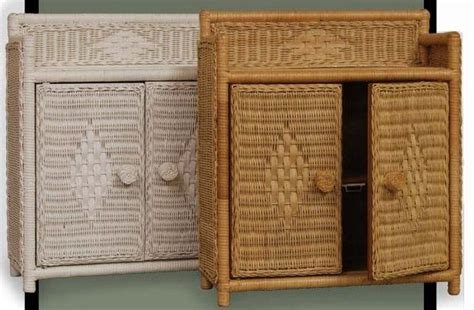 Wicker Wall Cabinet Bathroom Wall Shelf Unit With Wicker Rattan Bathroom Storage