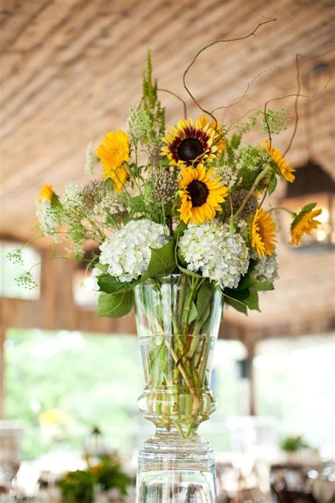 Sunflower Arrangements For Weddings by Sunflowers Hydrangeas And Centerpieces On