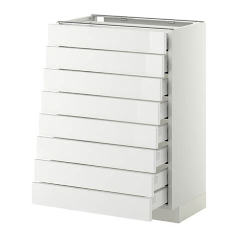 schublade metod metod base cabinet 8 fronts 8 low drawers white ma