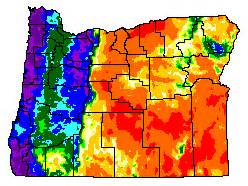 oregon climate map oregon s unique climatology and weather many links