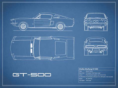shelby mustang gt500 blueprint print by rogan