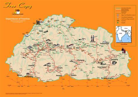 where is bhutan on a world map bhutan tourist map bhutan mappery