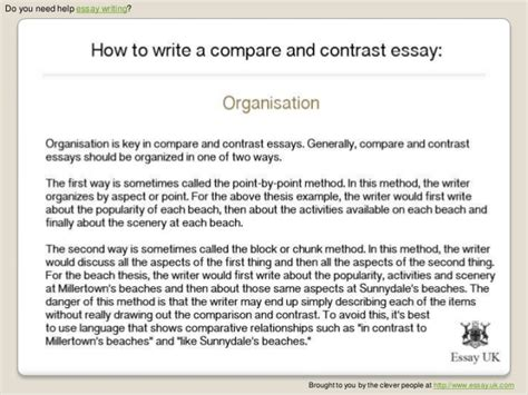 How To Write A Contrast Essay by How To Write A Compare And Contrast Essay Essay Writing