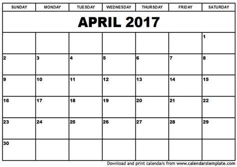 Calendar Template For 2017 april calendar templates