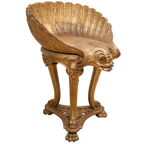 carved wood stool imperial russian dolphin and shell carved gilt wood harp