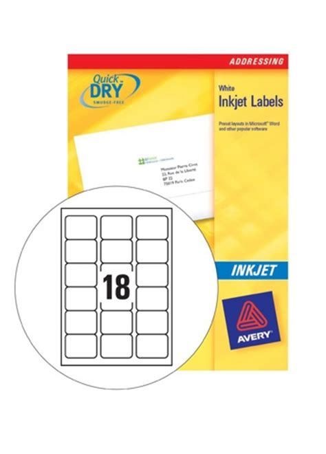 template for avery j8161 labels avery inkjet address labels 18 sheet 63 5x46 6mm j8161 100