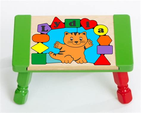 Cat Green Stool by Personalized Name Cat Puzzle Stool