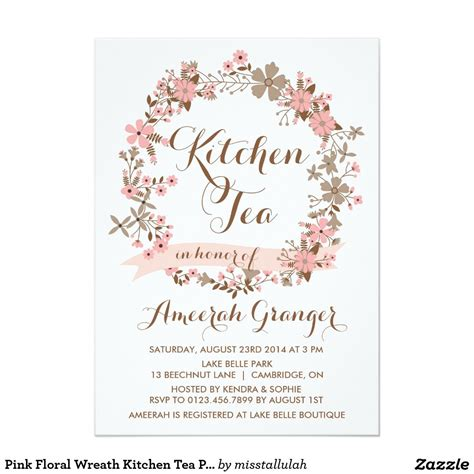 kitchen tea invitation ideas pink floral wreath kitchen tea invitation kitchen