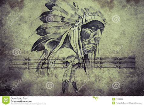 tribal chief tattoo sketch of american indian tribal chief warriors