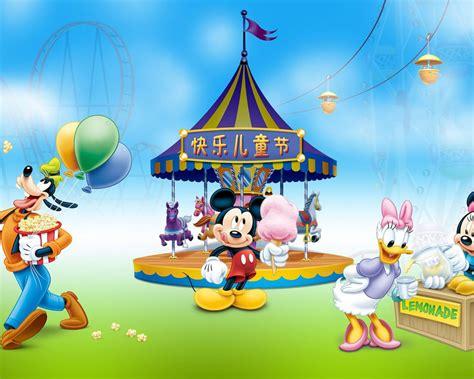 happy day mickey  minnie mouse daisy duck  goofy  luna park desktop wallpaper