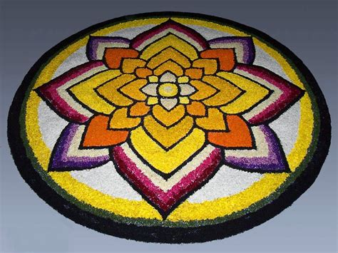 Decoration For Ganesh Festival At Home by Diwali Rangoli With Flower Designs Decoration Photos