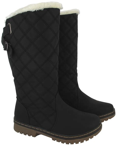 warmest womens winter boots new winter womens quilted grip sole mid calf fur