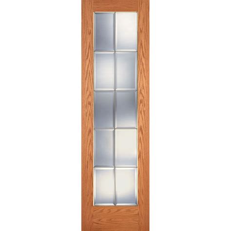 24 X 80 Interior Door Feather River Doors 24 In X 80 In 10 Lite Unfinished Oak Clear Bevel Brass Woodgrain Interior