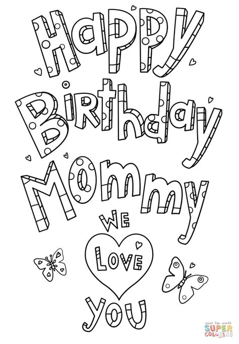 happy birthday coloring pages games happy birthday mommy doodle coloring page free printable
