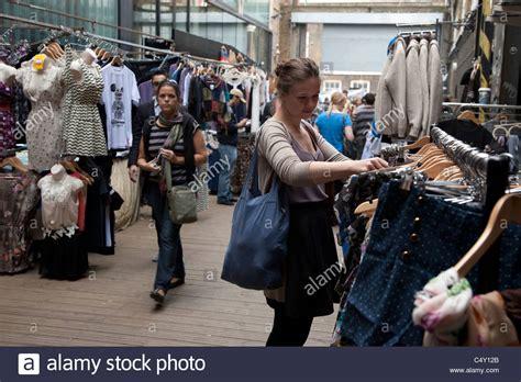 backyard market brick lane young woman shopping in sunday up market backyard market