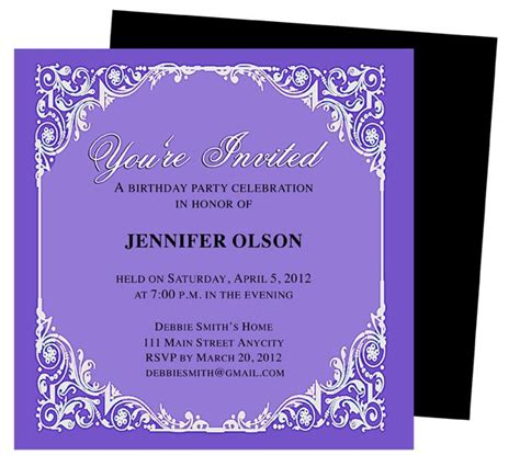 elegant birthday party invitations templates printable diy edit in