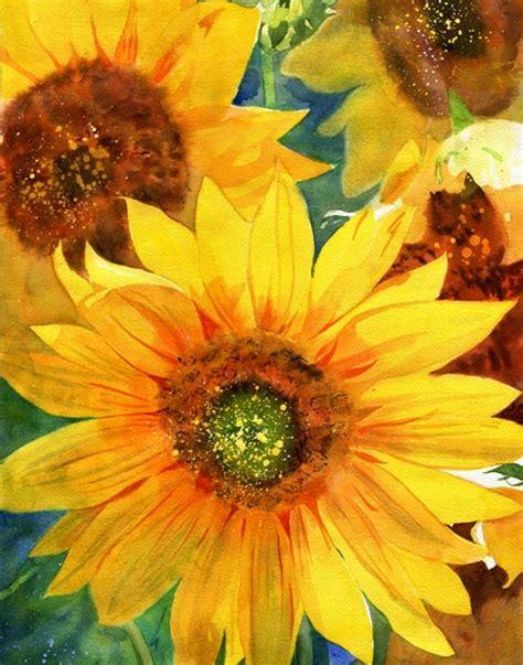 watercolor sunflower ideas  pinterest