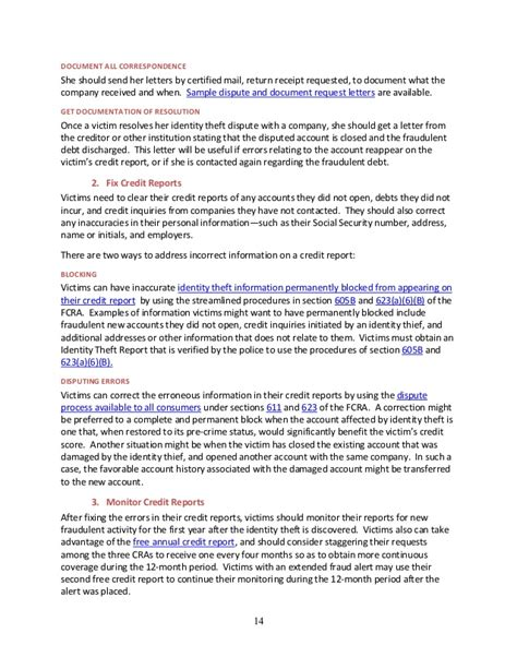 Credit Dispute Letter For Identity Theft Guide For Assisting Identity Theft Victims