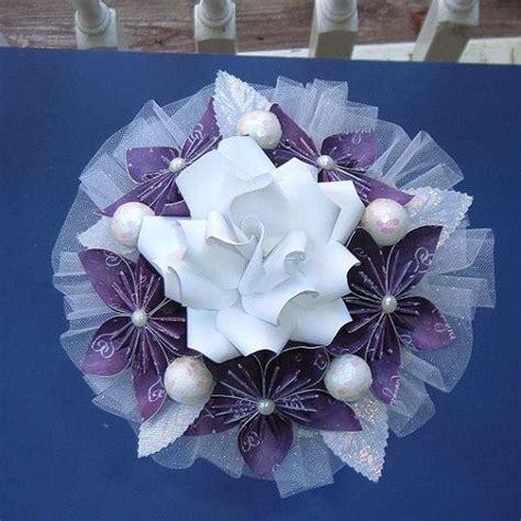 Origami Kusudama Flower Bouquet - kusudama paper flower bouquet purple white lavender