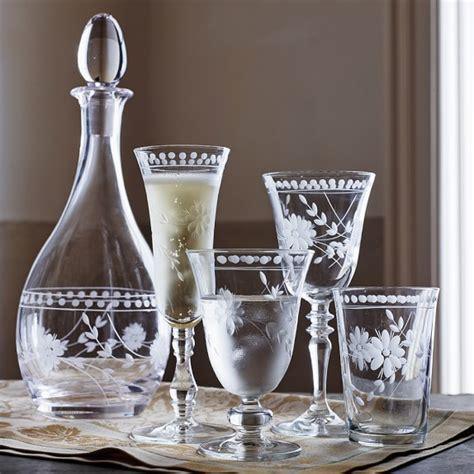 vintage barware vintage etched glassware collection williams sonoma