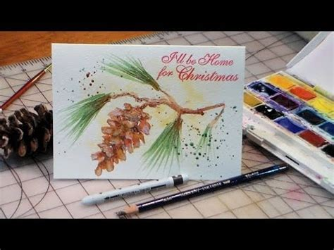 youtube watercolor christmas cards tutorials how to paint pinecone and tassel card