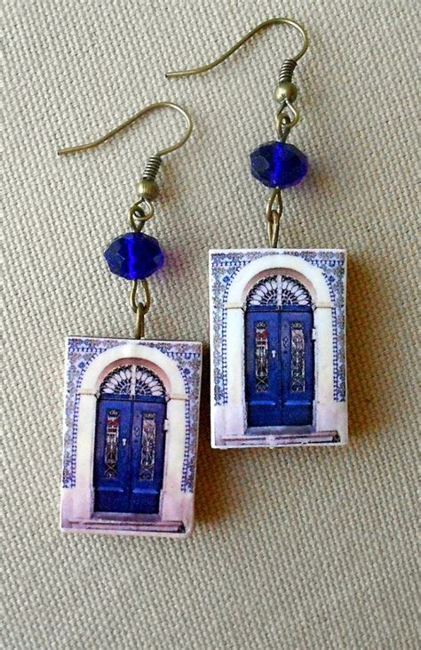 azulejo earrings portugal antique azulejo tile replica door earrings from