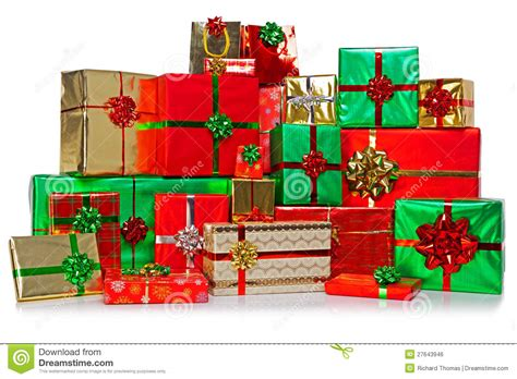 large group of christmas presents stock photo image