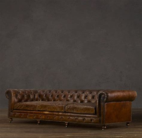 restoration hardware leather sofas restoration hardware kensington leather sofa in vintage