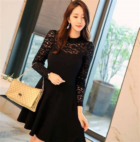 Dress Pesta Brukat Lace Import dress pesta korea warna hitam brokat model terbaru