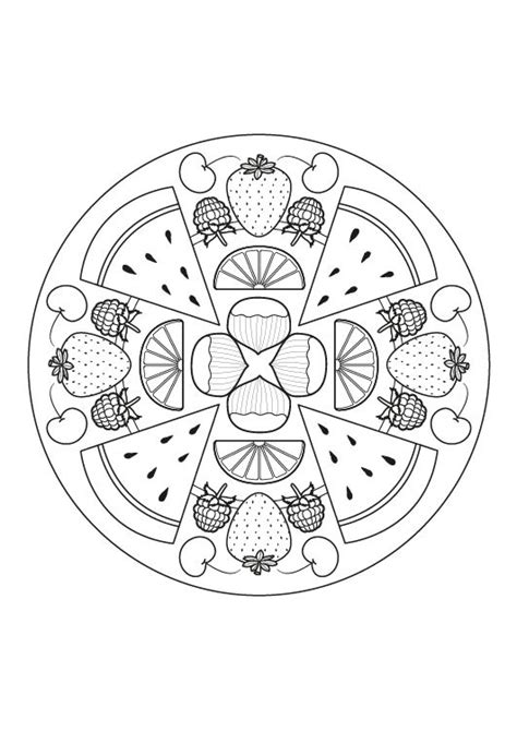 mandalas para colorear pintar e imprimir imprimir mandala de frutas dibujo para colorear e imprimir