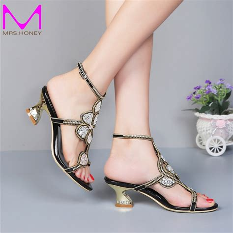 2 inch heel sandals kitten heel gold rhinestone wedding sandals slingback