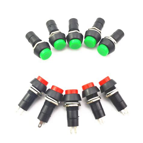 Push On Senter 2pin 10pcs 2pin plastic 12mm push button latching momentary switch 3a 150v green in switches from