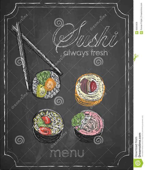 sushi menu  chalkboard background vector illustration