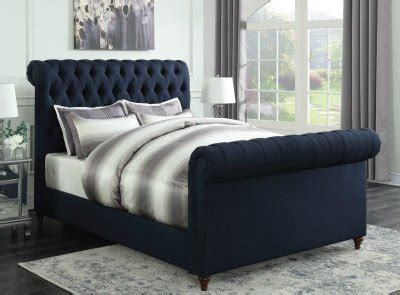 navy blue upholstered bed gresham upholstered bed 300653 in navy blue fabric by coaster