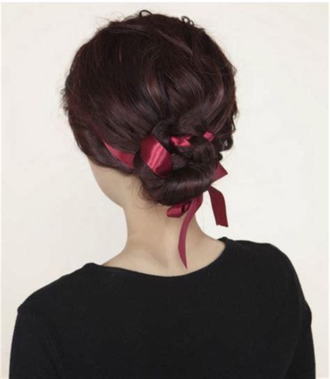 diy ribbon hairstyles volumize braided satin ribbon low bun hairstyle tutorial