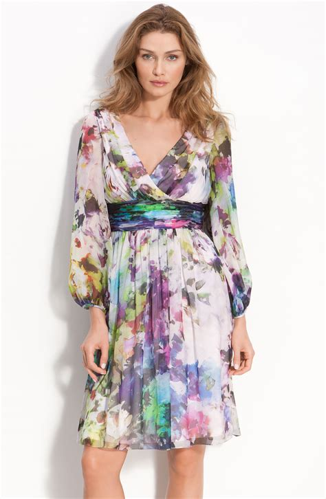 Floral Print Chiffon Dress maggy abstract floral print silk chiffon dress