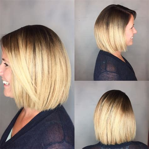 blunt end bob with subtle layers women s blunt blonde bob with textured ends and front layers
