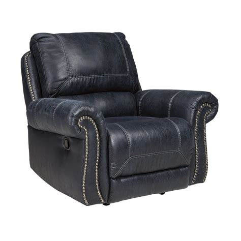 Navy Leather Recliner by Milhaven Faux Leather Power Rocker Recliner In Navy