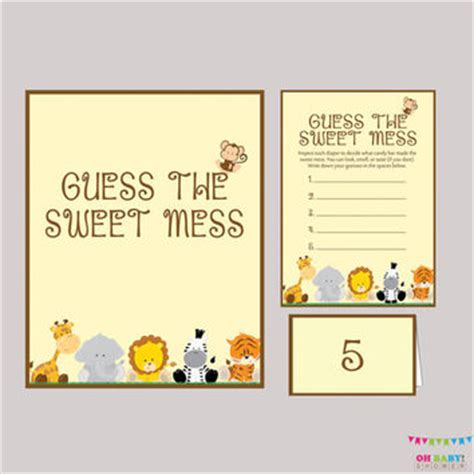 guess my number printable cards diaper candy bar game safari baby shower from ohbabyshower on
