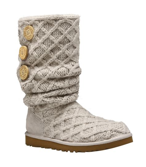 uggs knitted boots ugg lattice cardy sand knit in lyst
