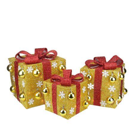 northlight 3 box outdoor set y76231 set of 3 gold tinsel gift boxes with bows lighted yard decorations walmart