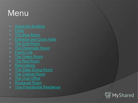 the green room menu презентация на тему quot the white house menu about the building facts the blue room entrance and